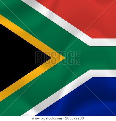 South Africa waving flag. Waving flag. Vector illustration.