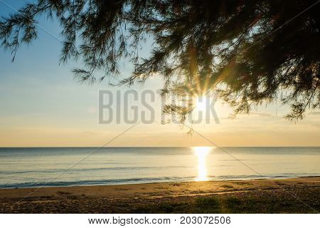 Sunset at sea with trees sway at Chaolao Tosang Beach Thailand.