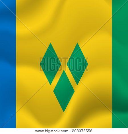 Saint Vincent and the Grenadines waving flag. Vector illustration.