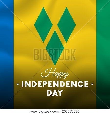 Banner or poster of Saint Vincent and the Grenadines independence day celebration. Waving flag. Vector illustration.