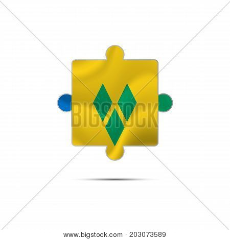 Isolated piece of puzzle with the Saint Vincent and the Grenadines flag. Vector illustration.