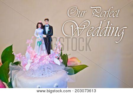 Figurines Of The Bride And Groom Wedding Cake