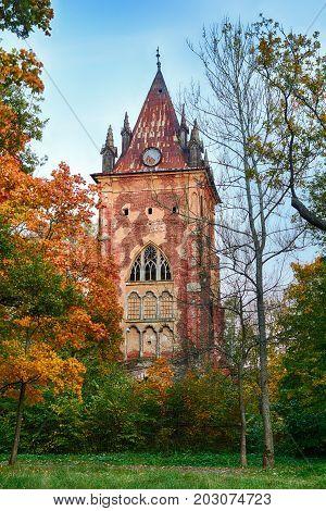 Pavilion Chapel in park of residence of kings tzar Tsarskoye selo town Pushkin Bright Autumn St. Petersburg Russia.