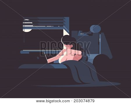 Pretty frustrated girl in bed with laptop at night. Vector illustration
