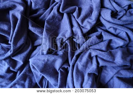 Jammed Subdued Blue Simple Thick Stockinet Fabric