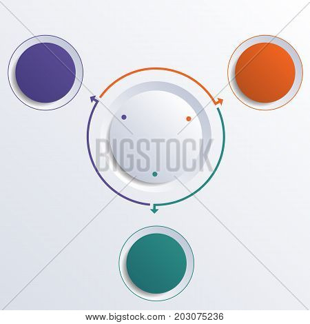 Template infographic color circles round circle for 3 positions
