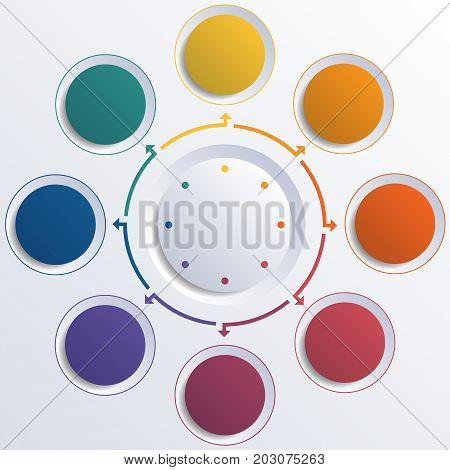 Template infographic color circles round circle for 8 positions