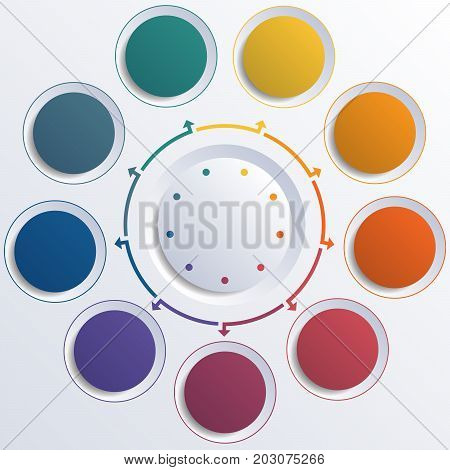 Template infographic color circles round circle for 9 positions