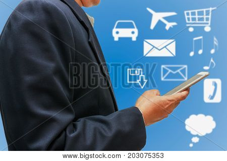 Man hand pressing touch screen smart phones using Business contacts concept