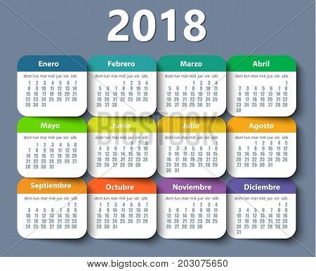 Calendar 2018 year vector design template in Spanish, Week starting on Monday. EPS
