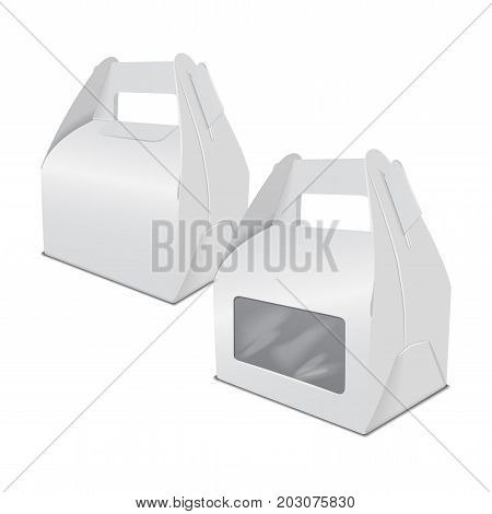 Set of realistic paper cake packaging box mock up, gift container with handle and window. Take away food box vector template for your design