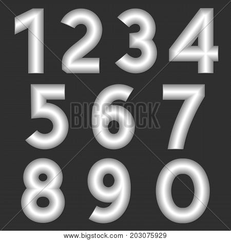 A complete set of numbers made from silver thick wire with a matte surface. Font is isolated by a gray background. Numbers are made in 3D shapes with smooth edges. Vector illustration.