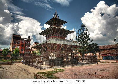 KATHMANDU, NEPAL. 23 September 2008: The Ancient Rato Machhindranath (Matsyendranath, Matsyendra) Temple, the Patan Durbar Square Kathmandu, Kathmandu valley, Nepal