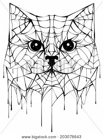 Black spiderweb silhouette head cat. Halloween accessory. Isolated on white vector illustration