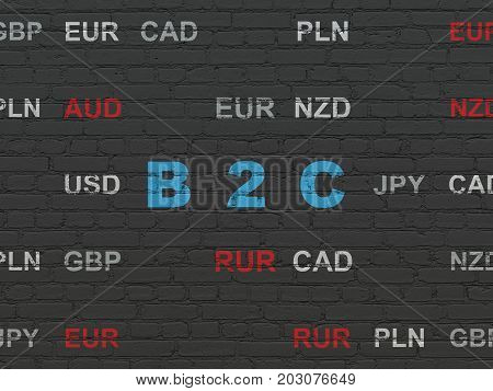 Business concept: Painted blue text B2c on Black Brick wall background with Currency poster