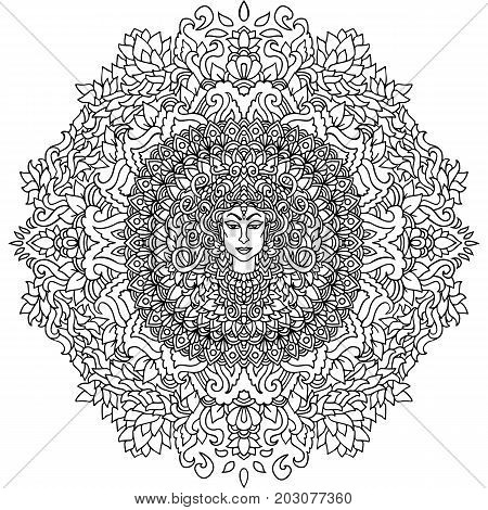 Abstract mandala ornament. Asian pattern. Black and white authentic background. Vector illustration. Budda face