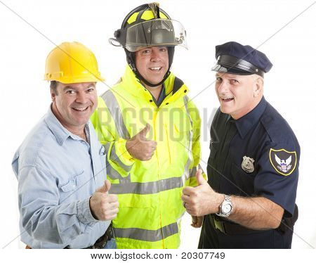 Friendly blue collar workers - fireman, policeman, construction worker - giving thumbs up sign.  Isolated on white.