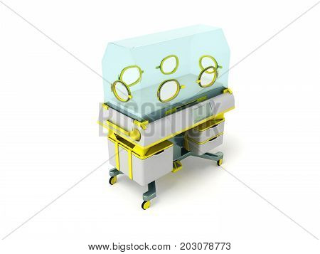 Incubator For Premature Babies Yellow 3D Render On White Background