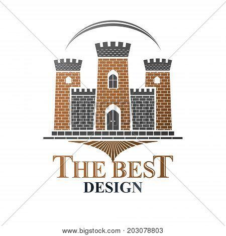 Ancient Bastion emblem. Heraldic vector design element. Retro style label heraldry logo. Antique logotype on isolated white background.
