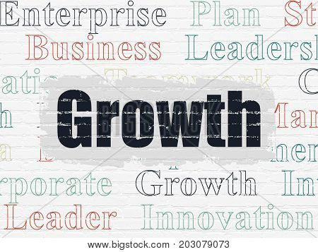 Business concept: Painted black text Growth on White Brick wall background with  Tag Cloud