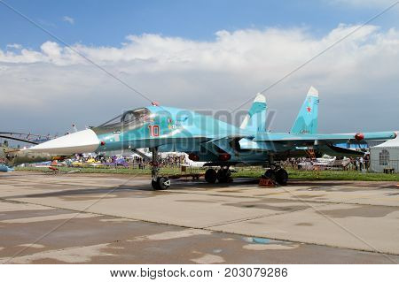 Moscow Region - July 21 2017: Multifunctional fighter-bomber Su-34 named after Oleg Peshkov at the International Aviation and Space Salon (MAKS) in Zhukovsky.