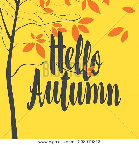 Vector banner with the inscription Hello Autumn. Autumn landscape with autumn leaves on the branches of trees on the yellow background