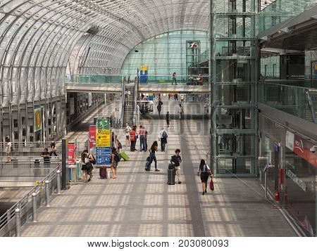 Porta Susa Station Travellers In Turin