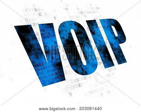 Web development concept: Pixelated blue text VOIP on Digital background