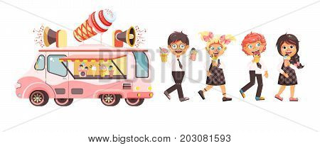 Stock vector illustration isolated characters children, pupils, schoolboys, schoolgirls eat ice cream, car refrigeration, truck sale manufacture vanilla, chocolate, popsicles sweet meals in flat style