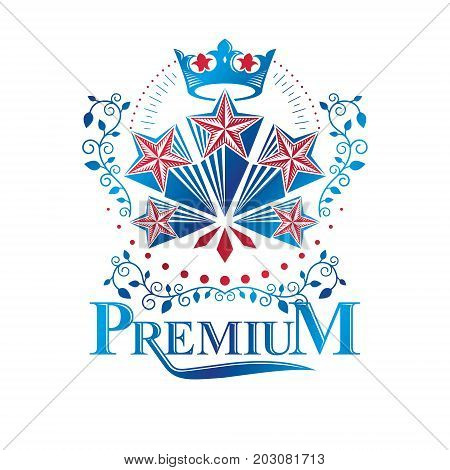 Ancient Star emblem decorated with imperial crown and floral ornament. Heraldic vector design element 5 stars award symbol. Retro style label heraldry logo.