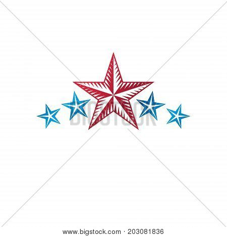 Military Star emblem. Heraldic vector design element 5 stars guaranty insignia. Retro style label heraldry logo.