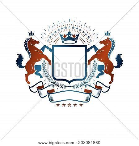 Graphic symbol created using wild horse animal element luxury ribbon and imperial crown. Heraldic vector design element. Retro style label heraldry logo.