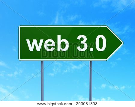 Web design concept: Web 3.0 on green road highway sign, clear blue sky background, 3D rendering