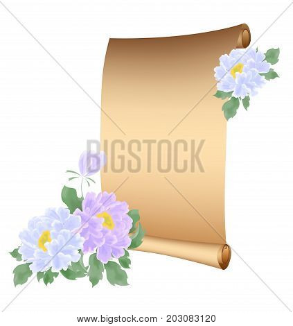 the illustration -scroll parchment with beautiful peony flowers.