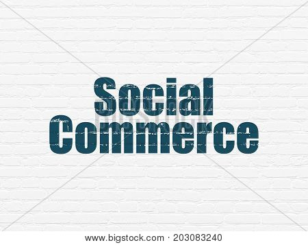 Marketing concept: Painted blue text Social Commerce on White Brick wall background