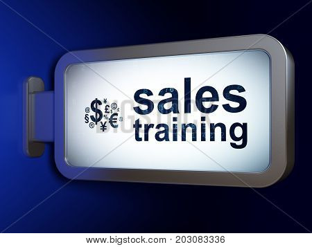 Advertising concept: Sales Training and Finance Symbol on advertising billboard background, 3D rendering