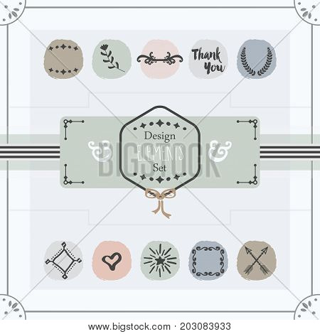 Pastel trendy colors emblems card design elements set on off white background