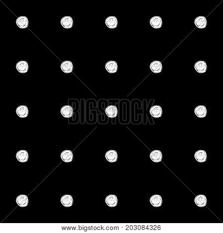 Abstract polka dot pattern with hand drawn polka dots. Cute vector black and white polka dot pattern. Seamless monochrome polka dot pattern for fabric, wallpapers, wrapping paper, cards and web.