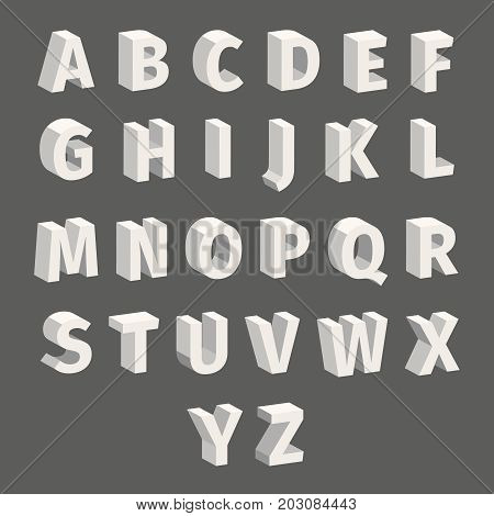Isometric font set Isolated on grey background. Techno font with block letters. Vector illustration