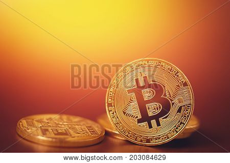 Bitcoin. Gold Bitcoin on the gold background