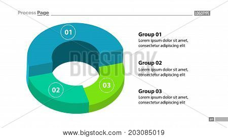 3d donut chart with three groups template. Element of graph, diagram, analysis. Concept for presentation, slide template, annual report. Can be used for topics like business, finance, management