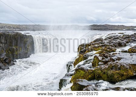 Spectacular Selfoss waterfall in Iceland in summer.