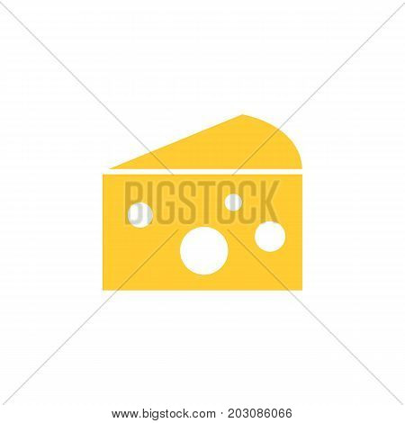 Flat yellow cheese icon on white background. Isolated cheese icon for use in variety of projects. Minimal vector cheese icon for web sites and apps.