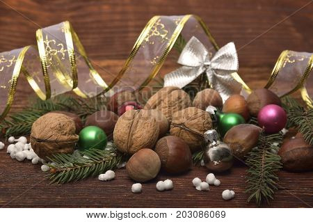Rustic christmas decoration. Christmas Decoration Over Wooden Background. Decorations over Wood. Vintage. Selective focus