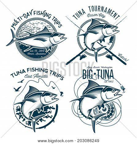 Fishing labels, badges, emblems and design elements. Illustrations of Tuna