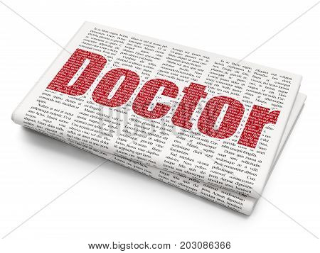 Healthcare concept: Pixelated red text Doctor on Newspaper background, 3D rendering