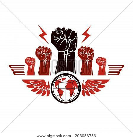 Clenched fists of angry people winged vector emblem composed with Earth globe symbol. Civil war abstract illustration. Social revolution concept.