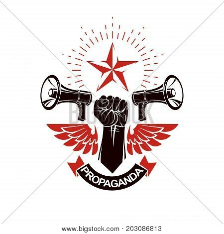 Vector leaflet created using clenched fists raised up freedom wings and loudspeaker equipment. Propaganda as a powerful weapon of influence on social behavior.