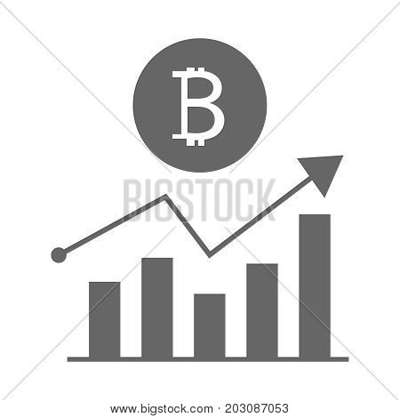 Financial diagram. Graphic of growing course of Bitcoin. Icon vector illustration flat eps10