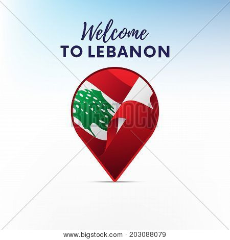 Flag of Lebanon in shape of map pointer or marker. Welcome to Lebanon. Vector illustration.